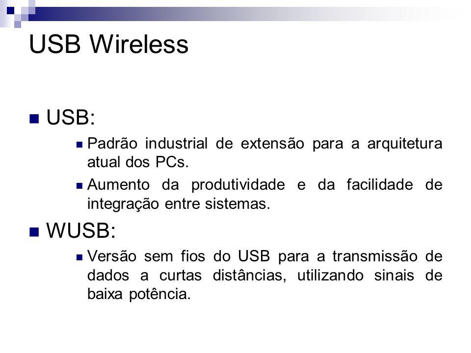 USB Wireless Características Em teoria, suporta taxas de transmissão de até 480 megabits a distâncias de até 3 metros e 110 megabits a até 10 metros.