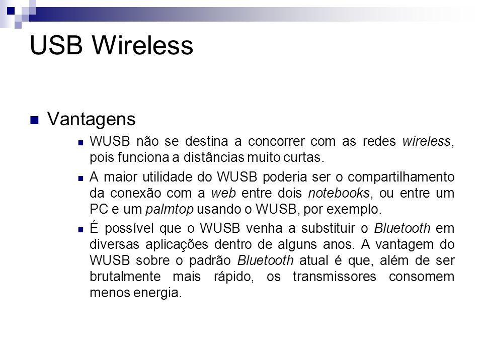 USB Wireless Desvantagens O maior problema é o WUSB é um padrão muito novo, cuja adoção ainda está indefinida, como qualquer nova tecnologia lançada atualmente.