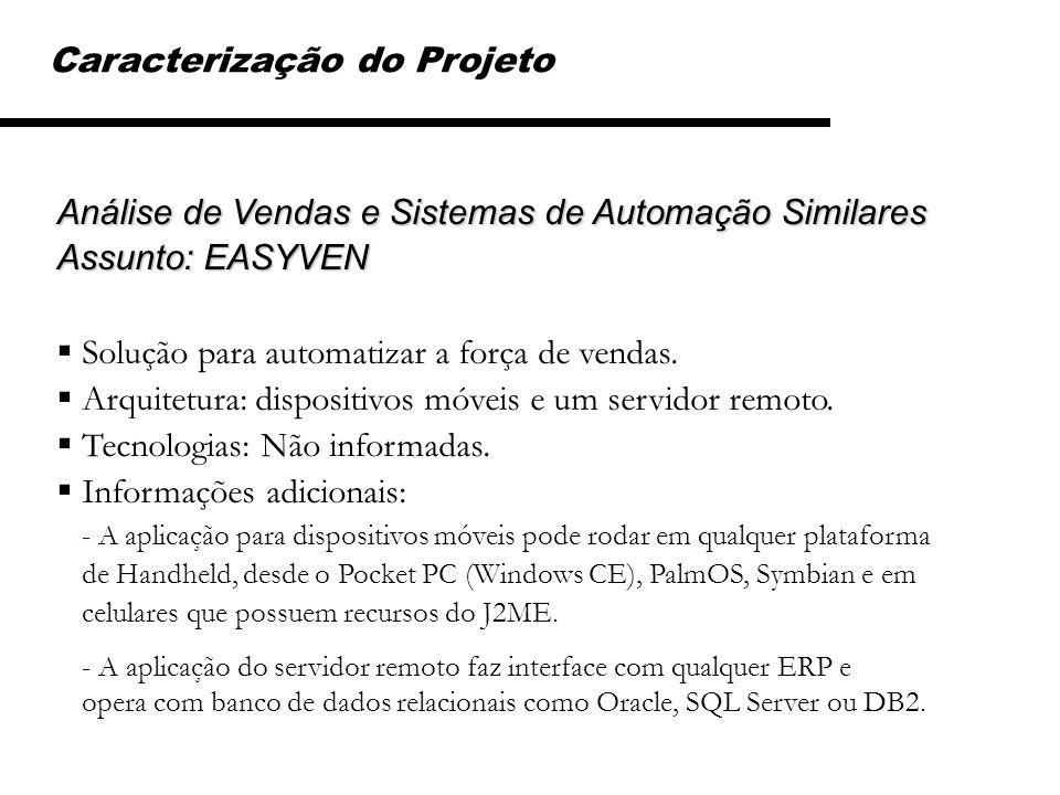 Caracterização do Projeto Análise de Vendas e Sistemas de Automação Similares Assunto: EASYVEN Solução para automatizar a força de vendas. Arquitetura