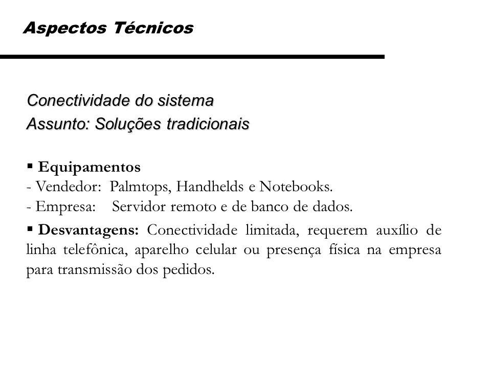 Aspectos Técnicos Conectividade do sistema Assunto: Soluções tradicionais Equipamentos - Vendedor: Palmtops, Handhelds e Notebooks. - Empresa: Servido