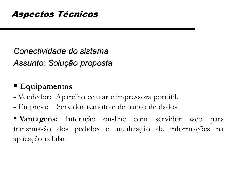 Conectividade do sistema Assunto: Solução proposta Equipamentos - Vendedor: Aparelho celular e impressora portátil. - Empresa: Servidor remoto e de ba