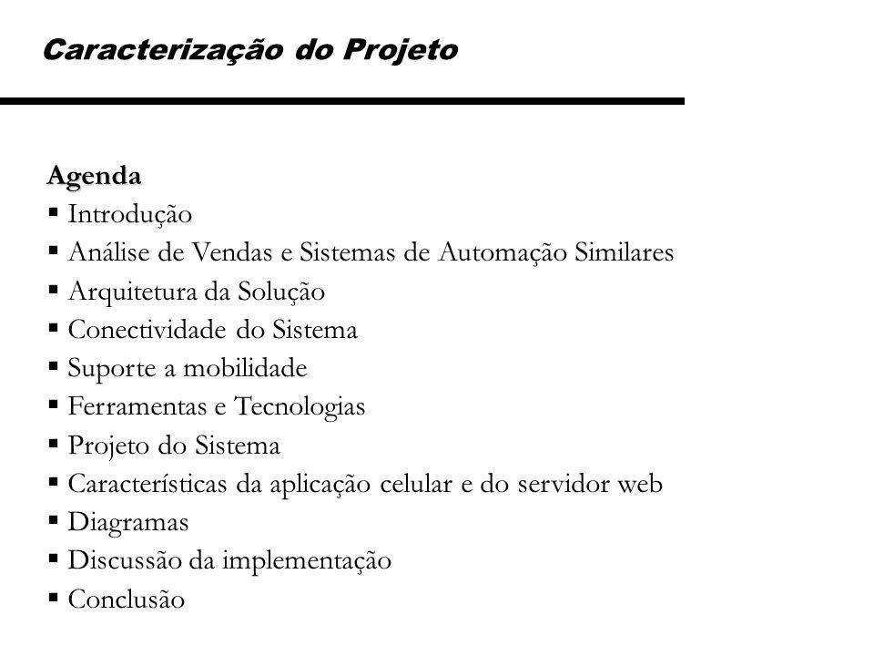 Caracterização do Projeto Agenda Introdução Análise de Vendas e Sistemas de Automação Similares Arquitetura da Solução Conectividade do Sistema Suport
