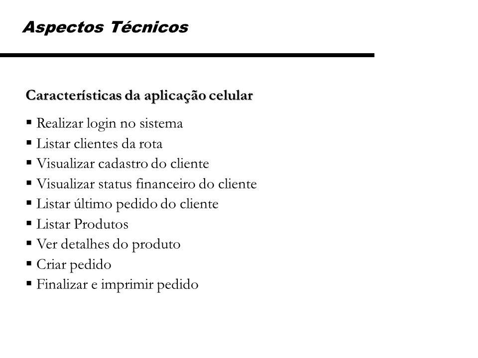 Características da aplicação celular Realizar login no sistema Listar clientes da rota Visualizar cadastro do cliente Visualizar status financeiro do