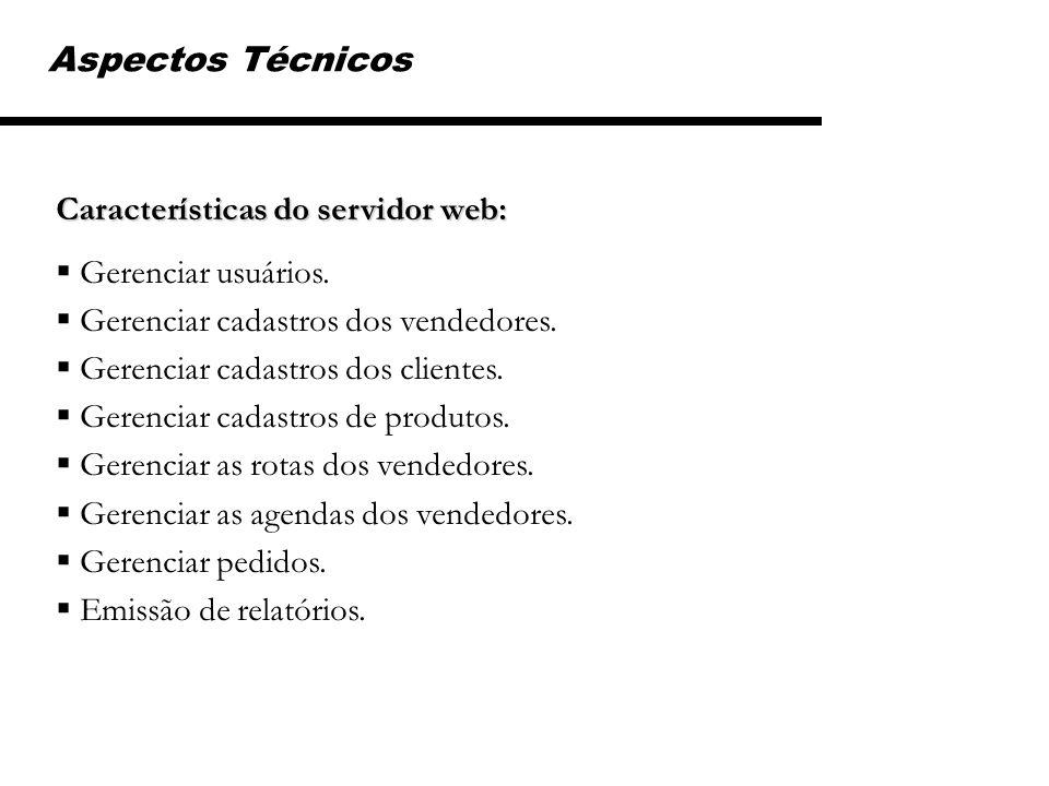 Características do servidor web: Gerenciar usuários. Gerenciar cadastros dos vendedores. Gerenciar cadastros dos clientes. Gerenciar cadastros de prod