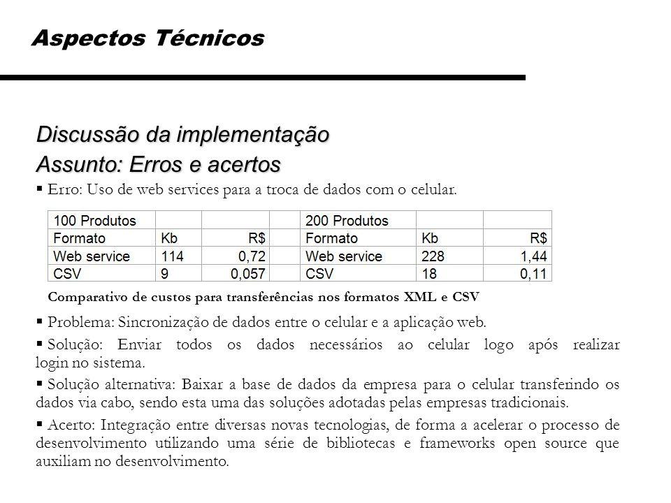 Aspectos Técnicos Discussão da implementação Assunto: Erros e acertos Erro: Uso de web services para a troca de dados com o celular. Problema: Sincron