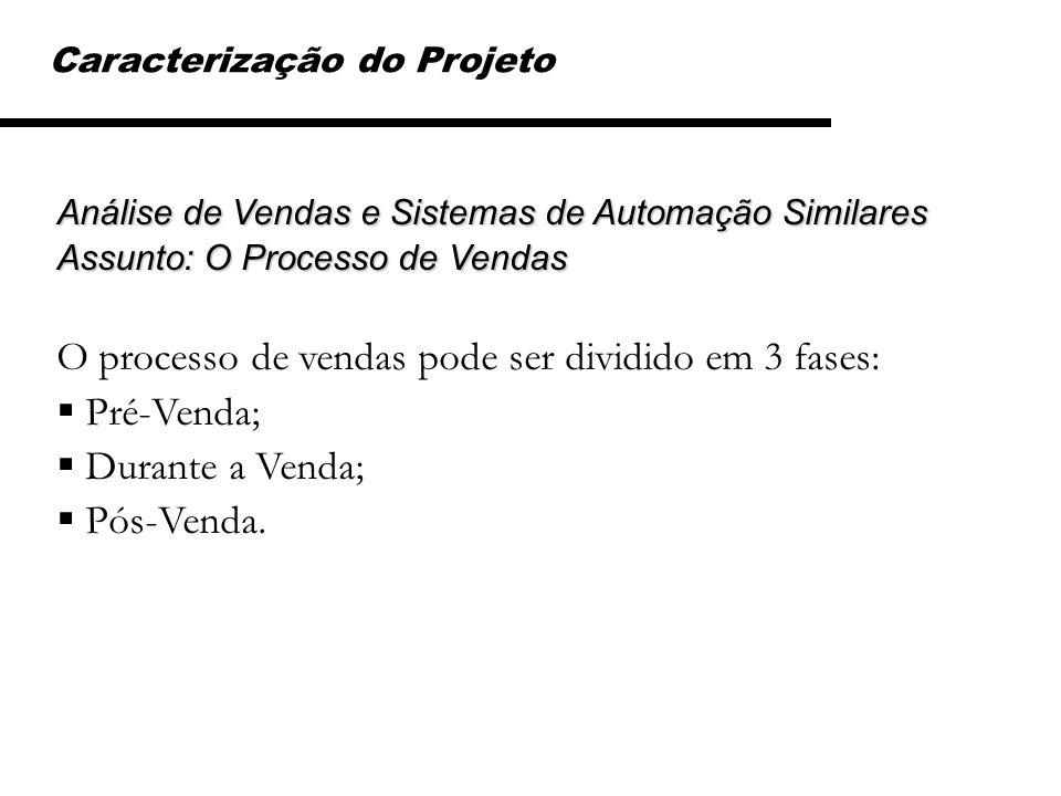 Caracterização do Projeto Análise de Vendas e Sistemas de Automação Similares Assunto: O Processo de Vendas O processo de vendas pode ser dividido em