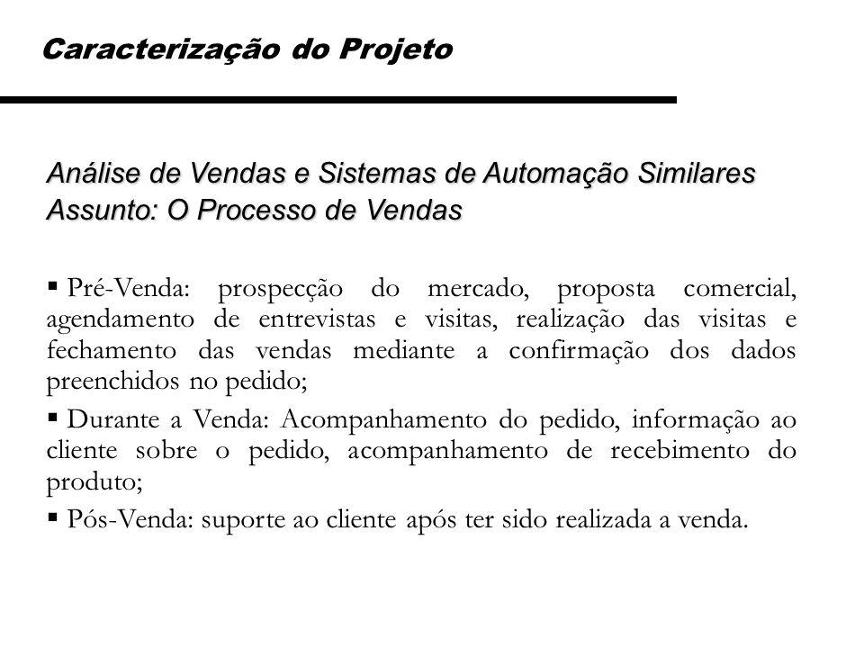 Caracterização do Projeto Análise de Vendas e Sistemas de Automação Similares Assunto: O Processo de Vendas Pré-Venda: prospecção do mercado, proposta