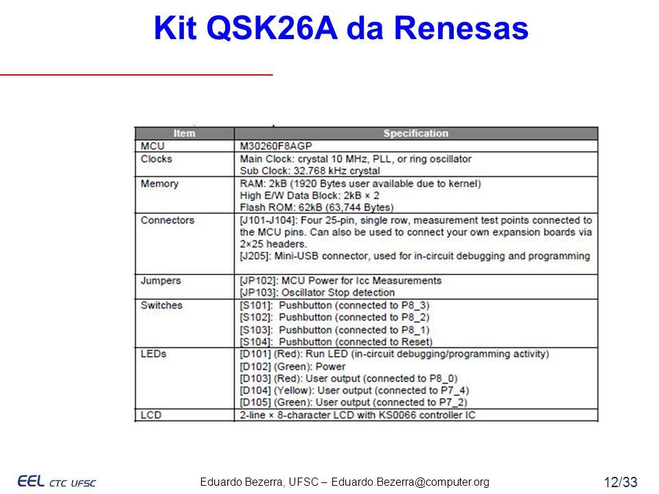 Eduardo Bezerra, UFSC – Eduardo.Bezerra@computer.org 12/33 Kit QSK26A da Renesas