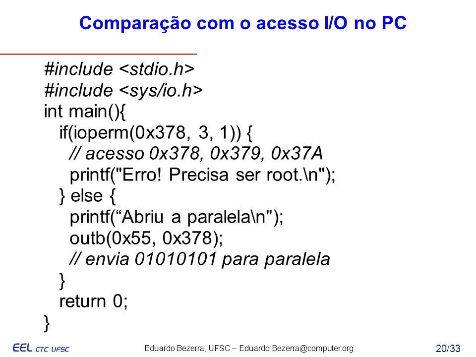 Eduardo Bezerra, UFSC – Eduardo.Bezerra@computer.org 20/33 Comparação com o acesso I/O no PC #include int main(){ if(ioperm(0x378, 3, 1)) { // acesso