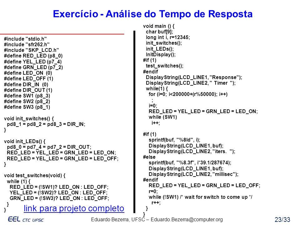 Eduardo Bezerra, UFSC – Eduardo.Bezerra@computer.org 23/33 Exercício - Análise do Tempo de Resposta #include