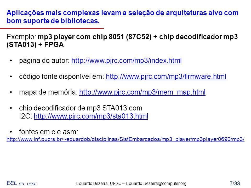 Eduardo Bezerra, UFSC – Eduardo.Bezerra@computer.org 7/33 Aplicações mais complexas levam a seleção de arquiteturas alvo com bom suporte de biblioteca