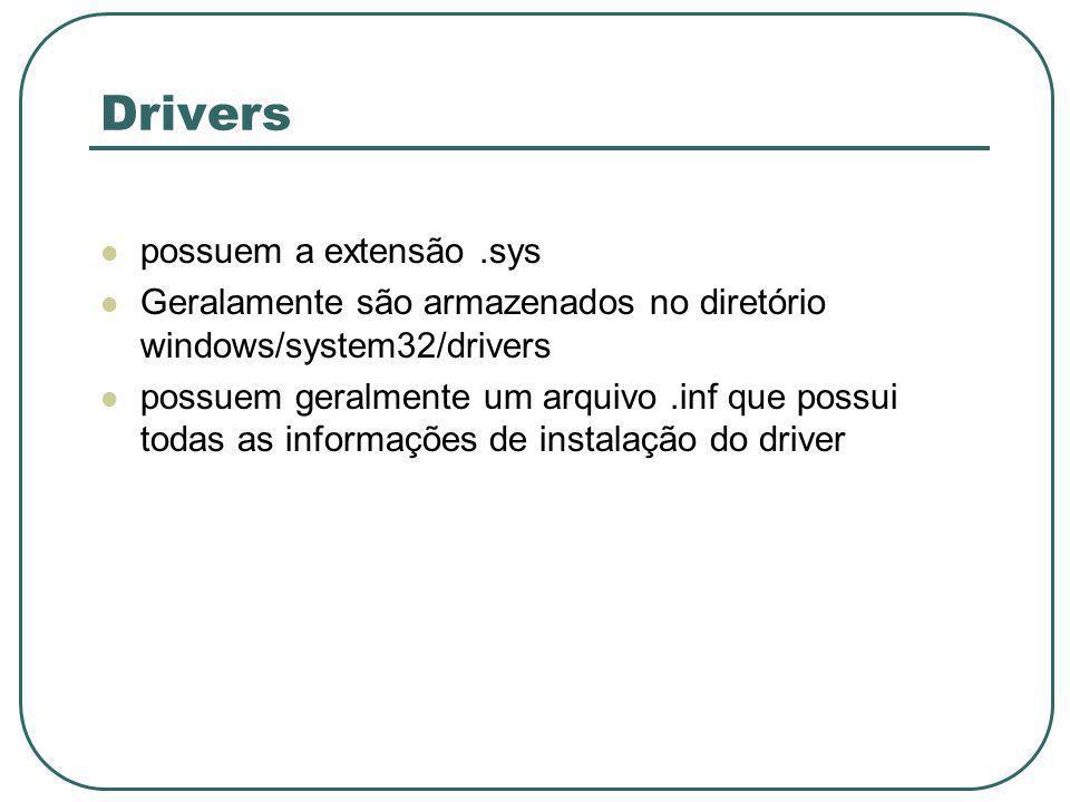 Drivers possuem a extensão.sys Geralamente são armazenados no diretório windows/system32/drivers possuem geralmente um arquivo.inf que possui todas as informações de instalação do driver