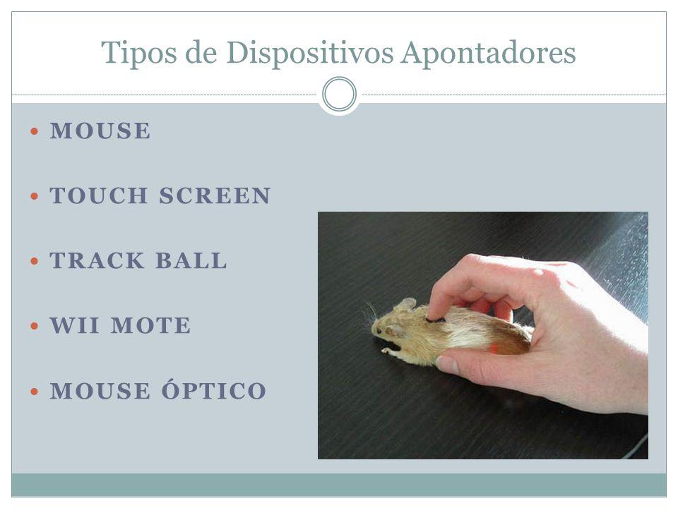 Tipos de Dispositivos Apontadores MOUSE TOUCH SCREEN TRACK BALL WII MOTE MOUSE ÓPTICO