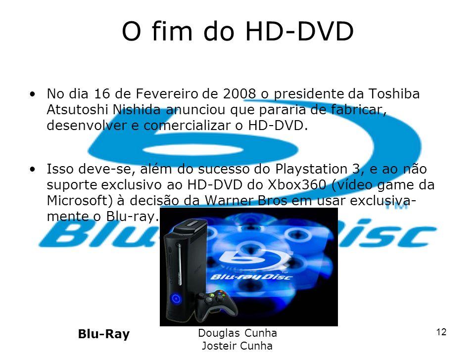 O fim do HD-DVD No dia 16 de Fevereiro de 2008 o presidente da Toshiba Atsutoshi Nishida anunciou que pararia de fabricar, desenvolver e comercializar