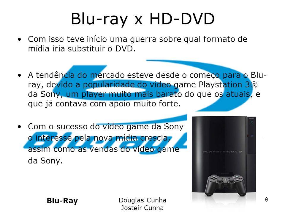 Blu-ray x HD-DVD Com isso teve início uma guerra sobre qual formato de mídia iria substituir o DVD. A tendência do mercado esteve desde o começo para