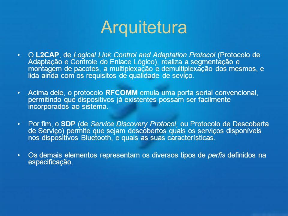Arquitetura O L2CAP, de Logical Link Control and Adaptation Protocol (Protocolo de Adaptação e Controle do Enlace Lógico), realiza a segmentação e mon