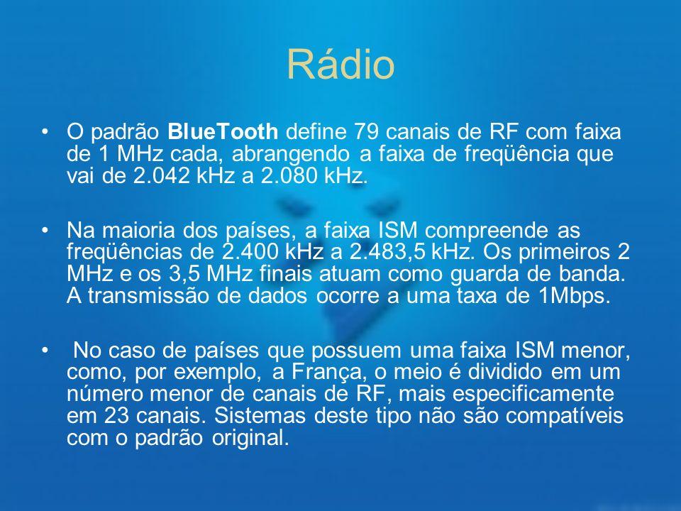 Rádio O padrão BlueTooth define 79 canais de RF com faixa de 1 MHz cada, abrangendo a faixa de freqüência que vai de 2.042 kHz a 2.080 kHz. Na maioria