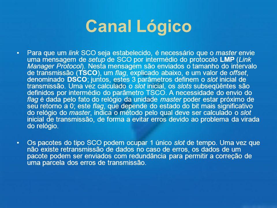 Canal Lógico Para que um link SCO seja estabelecido, é necessário que o master envie uma mensagem de setup de SCO por intermédio do protocolo LMP (Lin