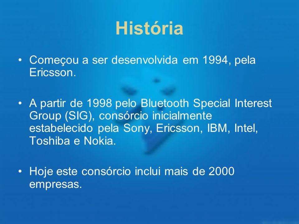 História Começou a ser desenvolvida em 1994, pela Ericsson. A partir de 1998 pelo Bluetooth Special Interest Group (SIG), consórcio inicialmente estab