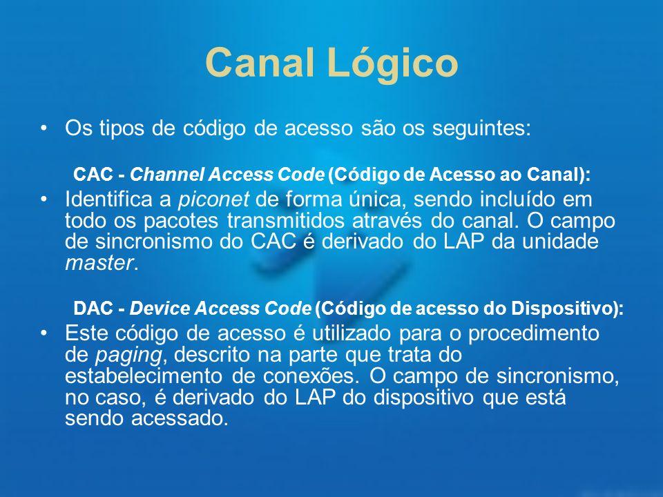 Canal Lógico Os tipos de código de acesso são os seguintes: CAC - Channel Access Code (Código de Acesso ao Canal): Identifica a piconet de forma única