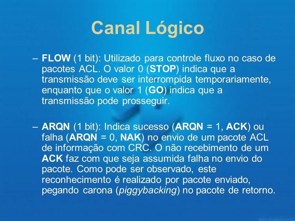 Canal Lógico –FLOW (1 bit): Utilizado para controle fluxo no caso de pacotes ACL. O valor 0 (STOP) indica que a transmissão deve ser interrompida temp