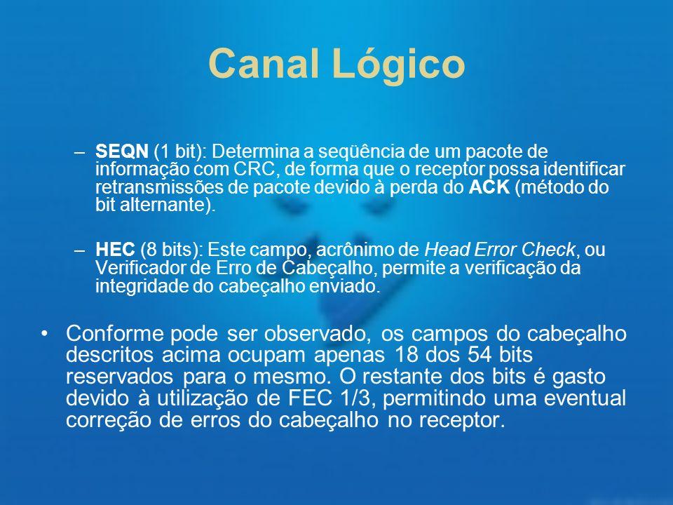 Canal Lógico –SEQN (1 bit): Determina a seqüência de um pacote de informação com CRC, de forma que o receptor possa identificar retransmissões de paco