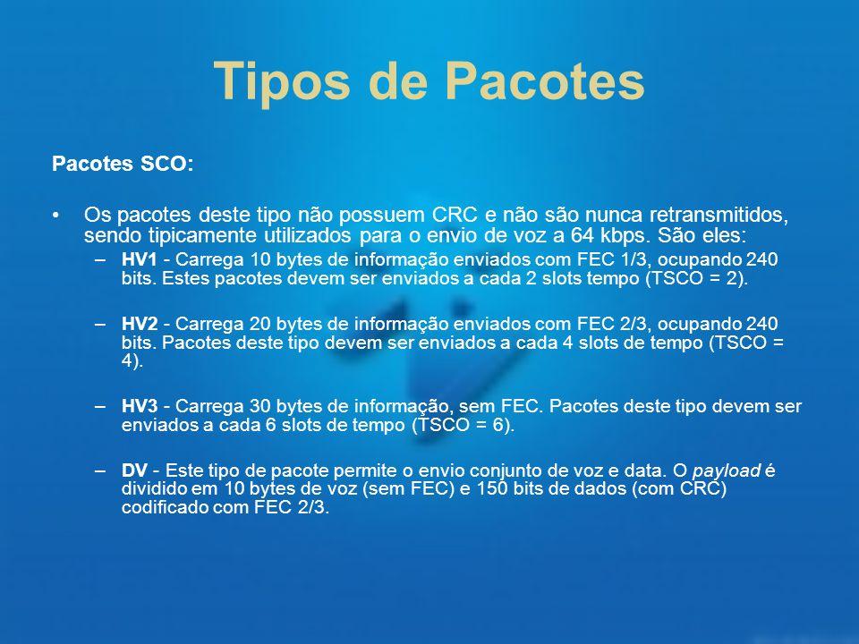 Tipos de Pacotes Pacotes SCO: Os pacotes deste tipo não possuem CRC e não são nunca retransmitidos, sendo tipicamente utilizados para o envio de voz a