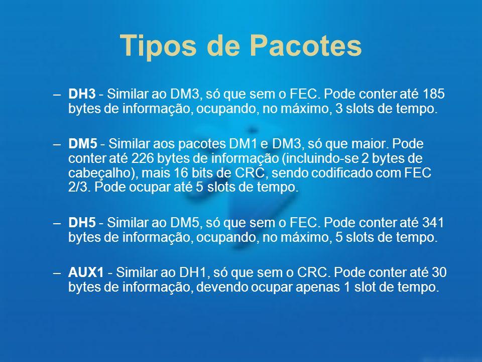 Tipos de Pacotes –DH3 - Similar ao DM3, só que sem o FEC. Pode conter até 185 bytes de informação, ocupando, no máximo, 3 slots de tempo. –DM5 - Simil