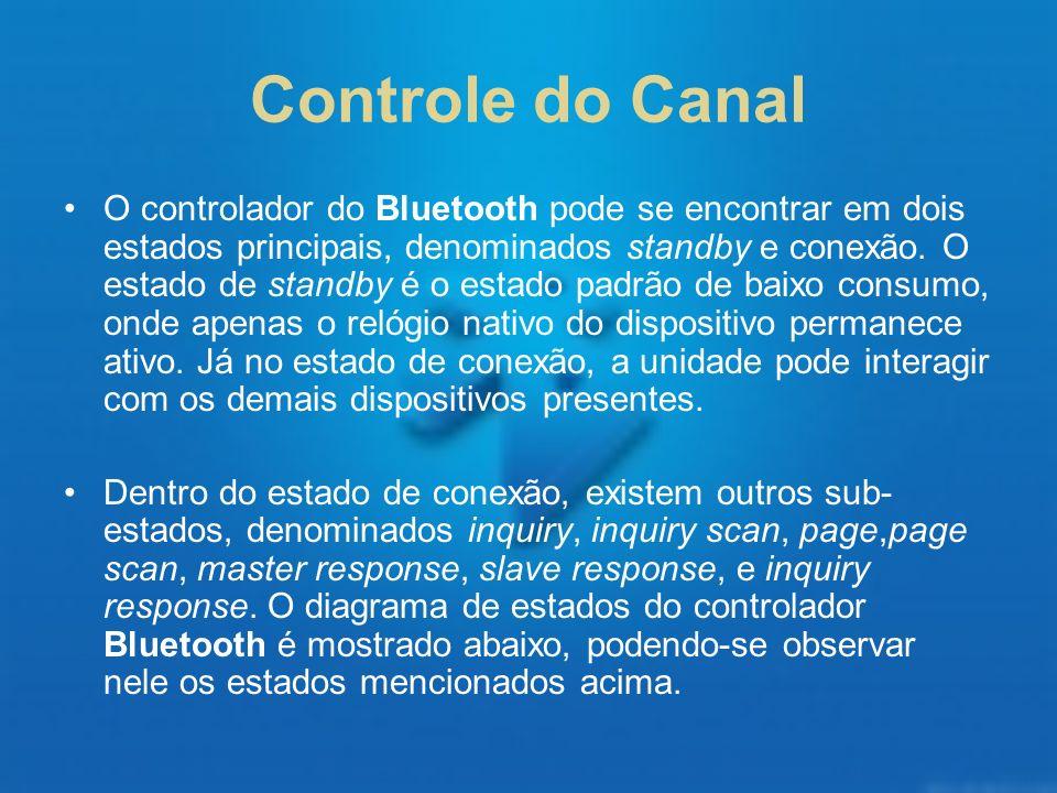 Controle do Canal O controlador do Bluetooth pode se encontrar em dois estados principais, denominados standby e conexão. O estado de standby é o esta