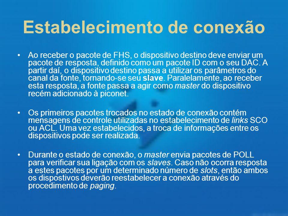 Estabelecimento de conexão Ao receber o pacote de FHS, o dispositivo destino deve enviar um pacote de resposta, definido como um pacote ID com o seu D