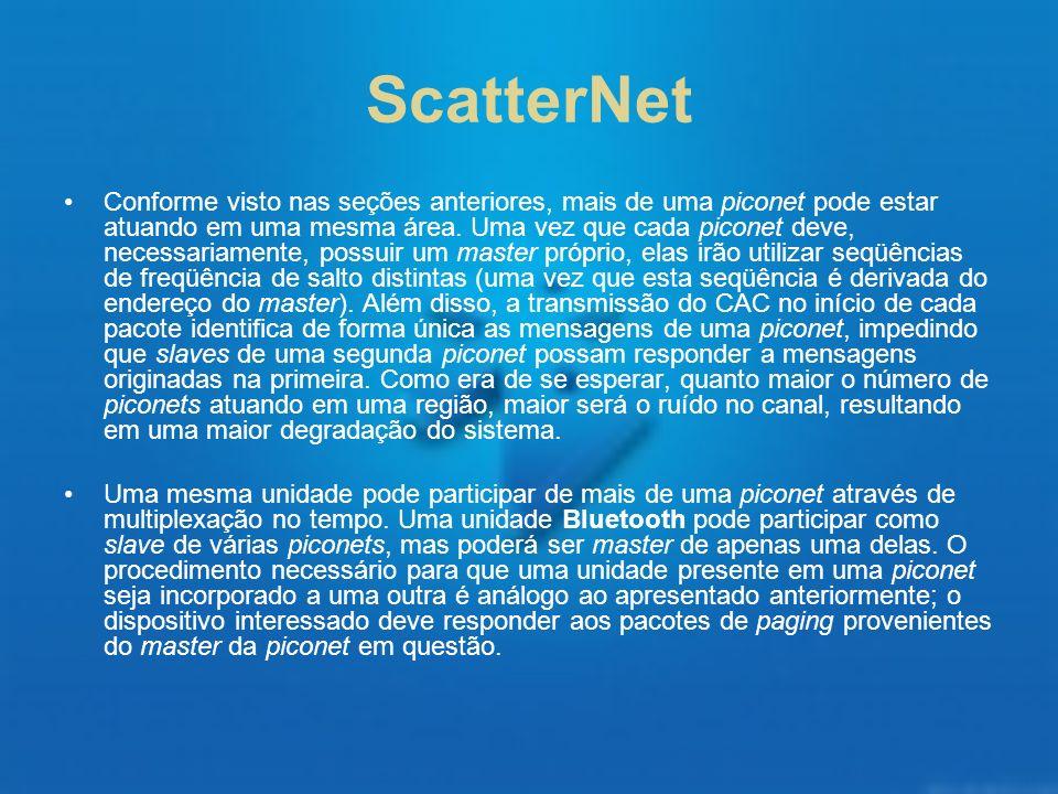 ScatterNet Conforme visto nas seções anteriores, mais de uma piconet pode estar atuando em uma mesma área. Uma vez que cada piconet deve, necessariame