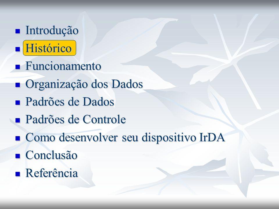 Introdução Introdução Histórico Histórico Funcionamento Funcionamento Organização dos Dados Organização dos Dados Padrões de Dados Padrões de Dados Padrões de Controle Padrões de Controle Como desenvolver seu dispositivo IrDA Como desenvolver seu dispositivo IrDA Conclusão Conclusão Referência Referência