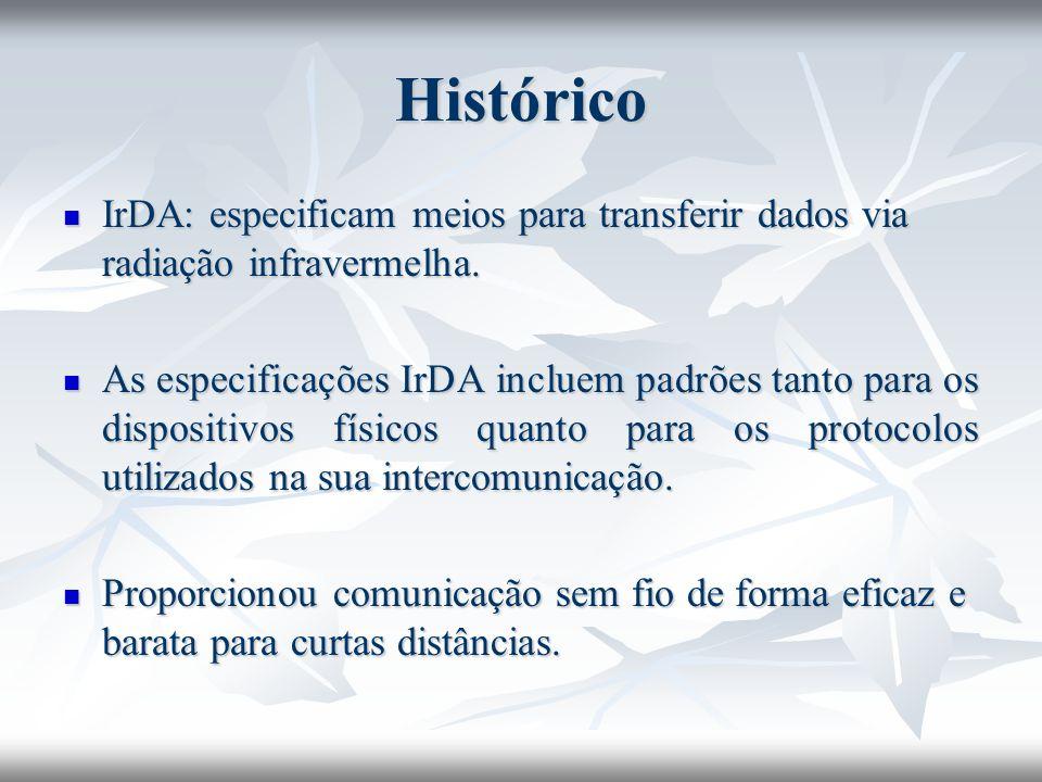 IrDA Infrared Link Access Protocol (IrLAP) Encapsula os frames, e impede o conflito em comunicações com múltiplos dispositivos Encapsula os frames, e impede o conflito em comunicações com múltiplos dispositivos Existe apenas um dispositivo primário, os outros são secundários Existe apenas um dispositivo primário, os outros são secundários Comunicação sempre Half-Duplex Comunicação sempre Half-Duplex IrLAP descreve como os dispositivos devem estabelecer a conexão, encerrar a mesma e como as conexões serão distinguidas internamente.