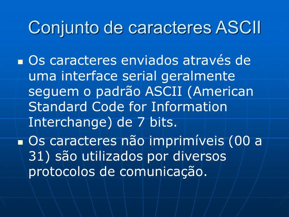 Conjunto de caracteres ASCII Os caracteres enviados através de uma interface serial geralmente seguem o padrão ASCII (American Standard Code for Infor
