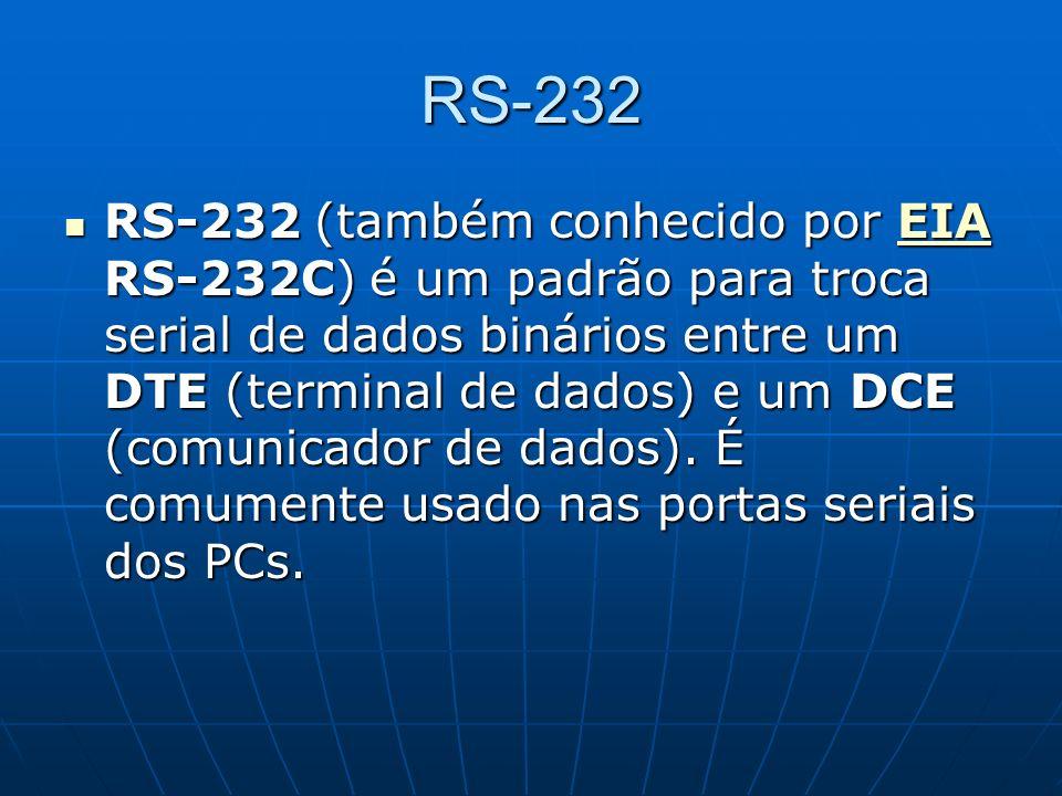 RS-232 RS-232 (também conhecido por EIA RS-232C) é um padrão para troca serial de dados binários entre um DTE (terminal de dados) e um DCE (comunicado