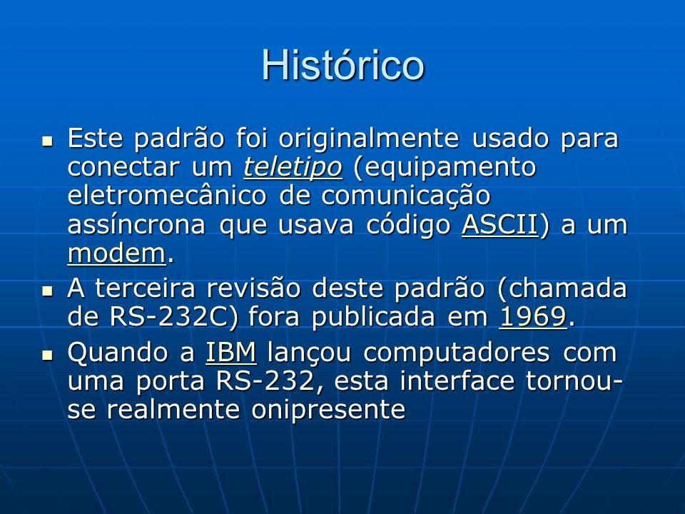 Histórico Este padrão foi originalmente usado para conectar um teletipo (equipamento eletromecânico de comunicação assíncrona que usava código ASCII)