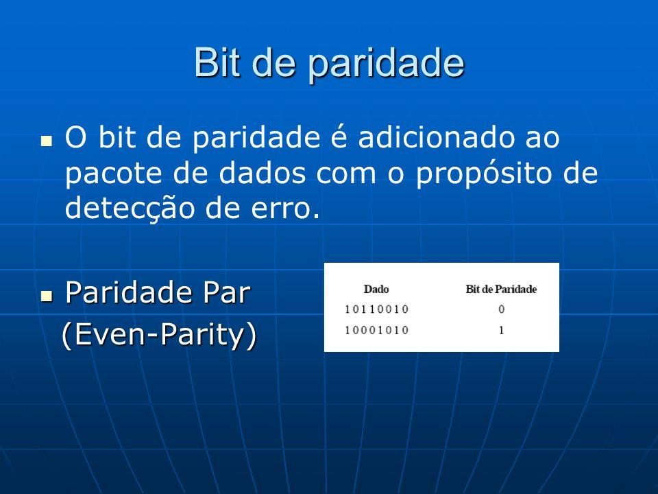 Bit de paridade O bit de paridade é adicionado ao pacote de dados com o propósito de detecção de erro. Paridade Par Paridade Par (Even-Parity) (Even-P