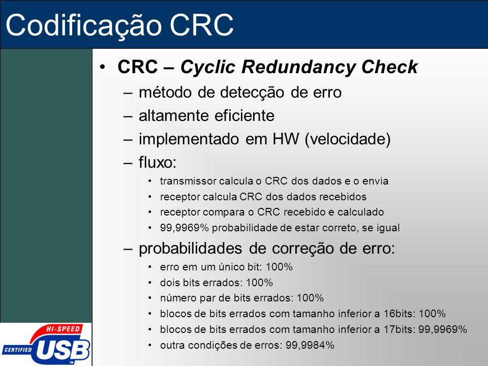 Codificação CRC CRC – Cyclic Redundancy Check –método de detecção de erro –altamente eficiente –implementado em HW (velocidade) –fluxo: transmissor ca