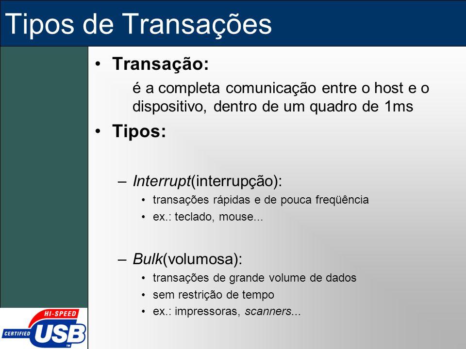 Tipos de Transações Transação: é a completa comunicação entre o host e o dispositivo, dentro de um quadro de 1ms Tipos: –Interrupt(interrupção): trans