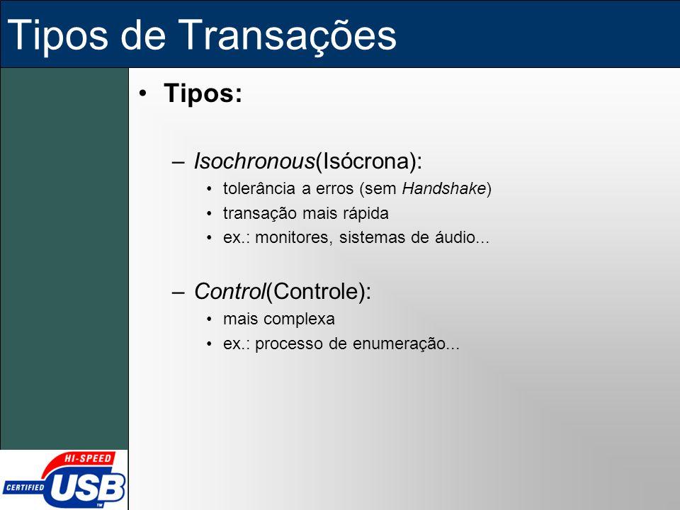 Tipos de Transações Tipos: –Isochronous(Isócrona): tolerância a erros (sem Handshake) transação mais rápida ex.: monitores, sistemas de áudio... –Cont