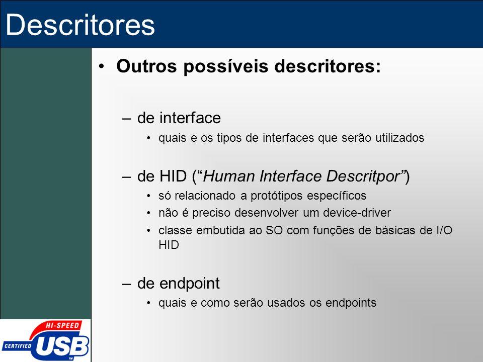 Descritores Outros possíveis descritores: –de interface quais e os tipos de interfaces que serão utilizados –de HID (Human Interface Descritpor) só re