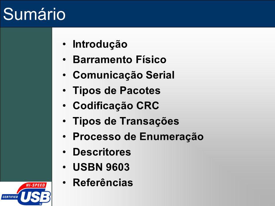 Sumário Introdução Barramento Físico Comunicação Serial Tipos de Pacotes Codificação CRC Tipos de Transações Processo de Enumeração Descritores USBN 9