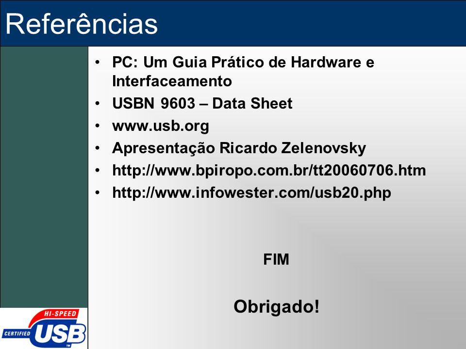 Referências PC: Um Guia Prático de Hardware e Interfaceamento USBN 9603 – Data Sheet www.usb.org Apresentação Ricardo Zelenovsky http://www.bpiropo.co