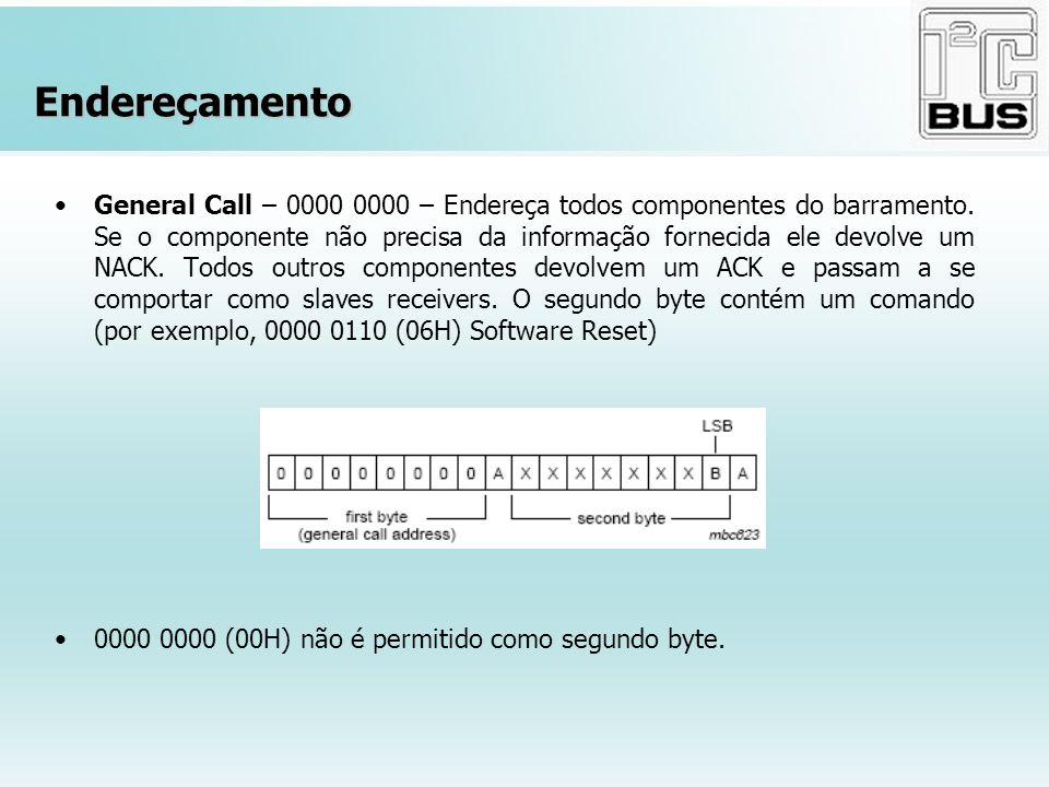 Endereçamento General Call – 0000 0000 – Endereça todos componentes do barramento. Se o componente não precisa da informação fornecida ele devolve um