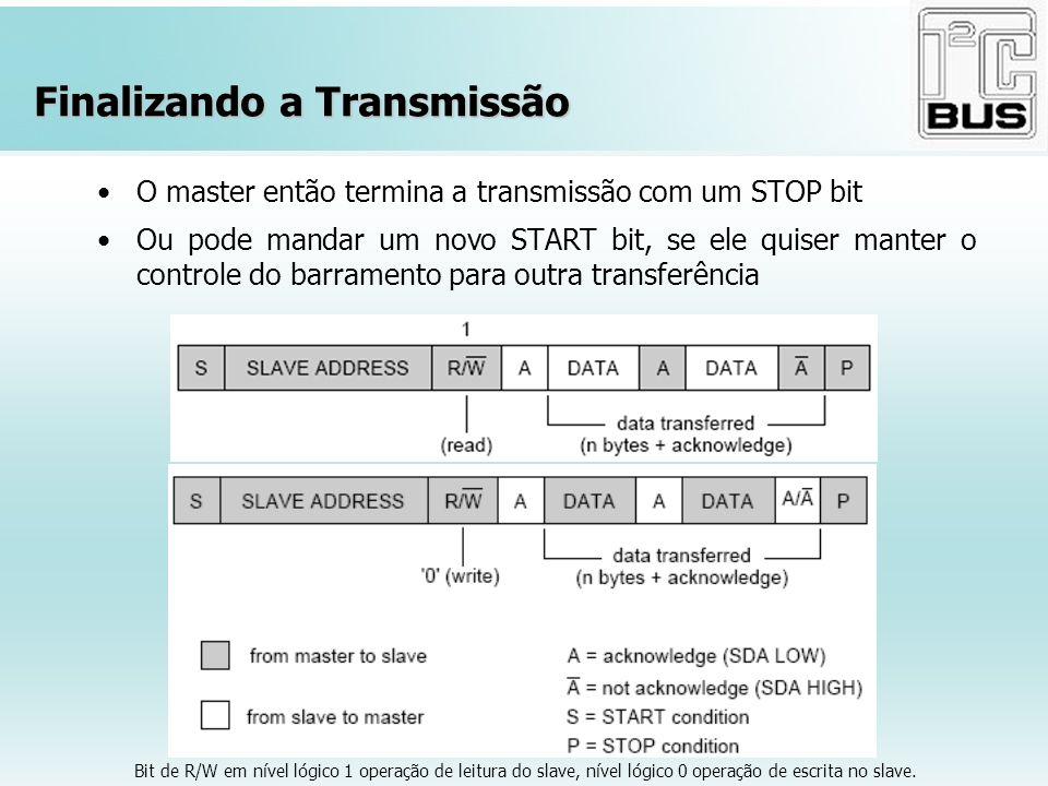 Finalizando a Transmissão O master então termina a transmissão com um STOP bit Ou pode mandar um novo START bit, se ele quiser manter o controle do ba