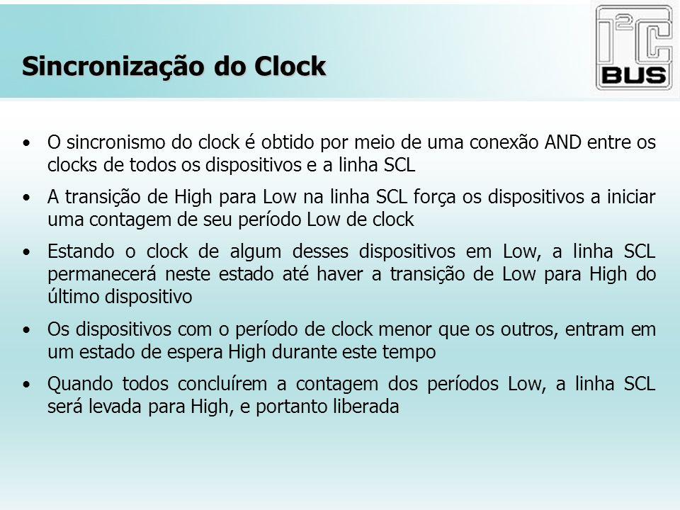 Sincronização do Clock O sincronismo do clock é obtido por meio de uma conexão AND entre os clocks de todos os dispositivos e a linha SCL A transição