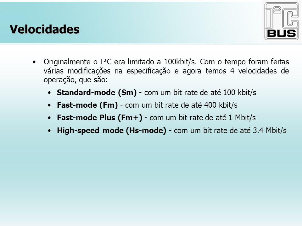 Velocidades Originalmente o I²C era limitado a 100kbit/s. Com o tempo foram feitas várias modificações na especificação e agora temos 4 velocidades de