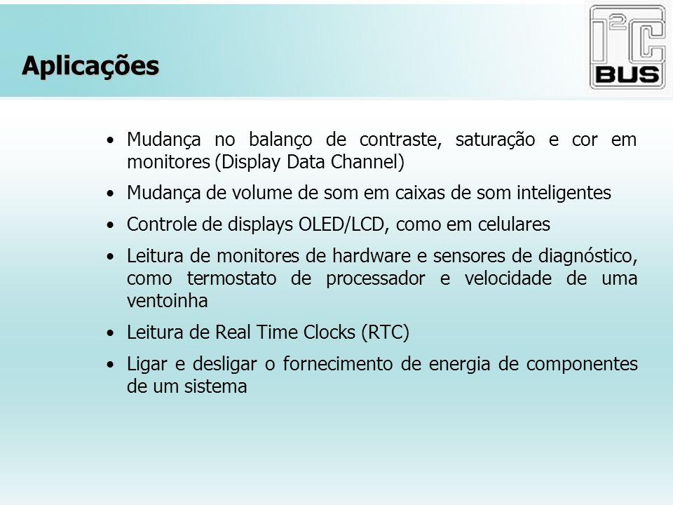 Aplicações Mudança no balanço de contraste, saturação e cor em monitores (Display Data Channel) Mudança de volume de som em caixas de som inteligentes