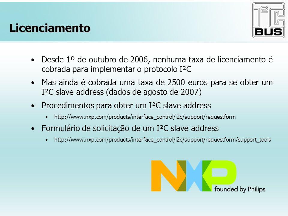 Licenciamento Desde 1º de outubro de 2006, nenhuma taxa de licenciamento é cobrada para implementar o protocolo I²C Mas ainda é cobrada uma taxa de 25