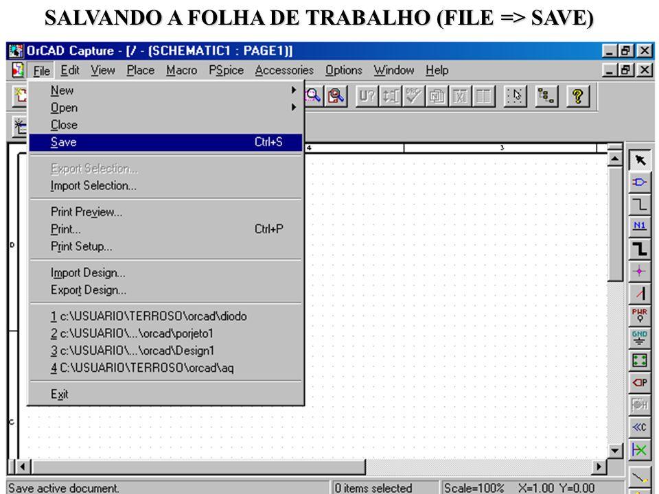 24 SALVANDO A FOLHA DE TRABALHO (FILE => SAVE)